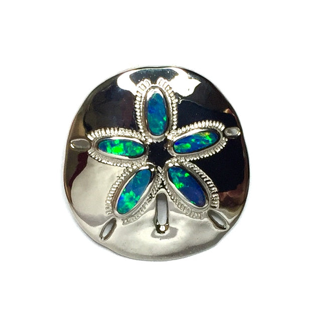 Opal Pendant Inlaid Realistic Sand Dollar Sea Life Design 14k White Gold