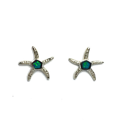 Opal Earrings Inlaid Realistic Star Fish Design Studs 14k White Gold