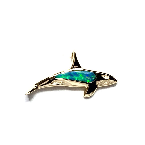 Opal Pendant Inlaid Realistic Orca Whale Design 14k Yellow Gold