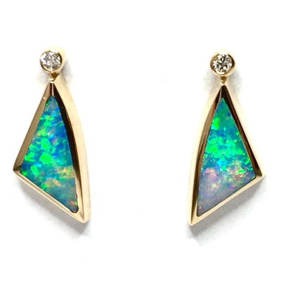 Opal Earrings Triangle Inlaid Design with .04ctw Round Diamonds 14k yellow Gold
