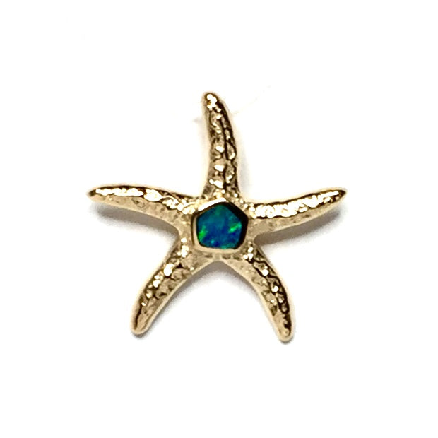 Opal Pendant Inlaid Realistic Star Fish Design 14k Yellow Gold