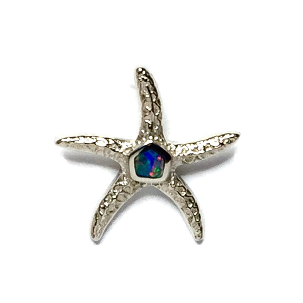 Opal Pendant Inlaid Realistic Star Fish Design 14k White Gold