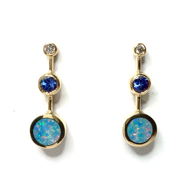 Opal Earrings Round Inlaid Design Tanzanite .04ctw Round Diamonds 14k Yellow Gold