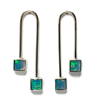 Opal Earrings Curved Bar Double Square Inlaid Ends Design Studs 14k White Gold