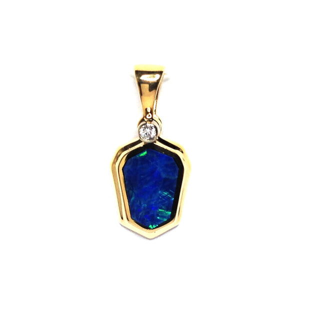 Natural Australian Opal Pendant Geometric Inlaid Design .02ct Round Diamond 14k Yellow Gold
