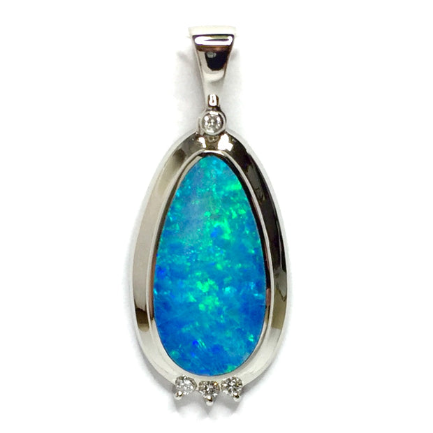 Natural Australian Opal pendant Tear Drop Inlaid design .14ctw Round Diamonds 14k White Gold