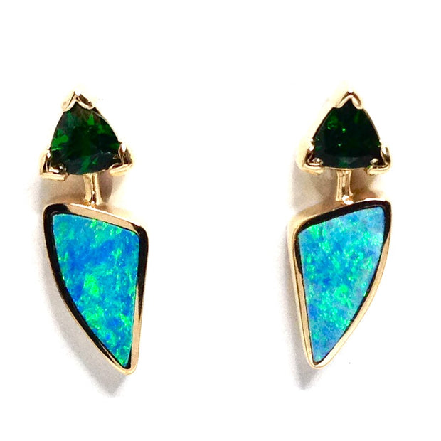 Opal Earrings Triangle Inlaid Design Trillion Cut Tsavorite Studs 14k Yellow Gold