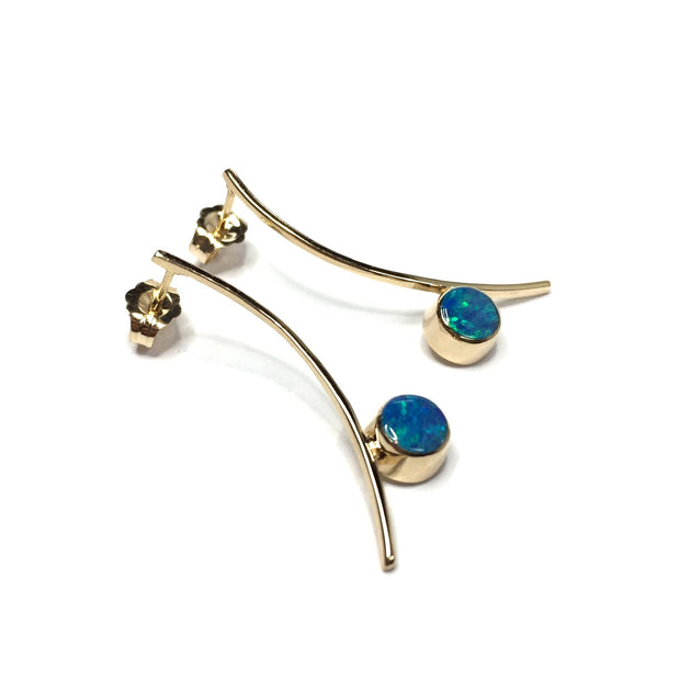Opal Earrings Round Inlaid Curved Bar Design Studs 14k Yellow Gold