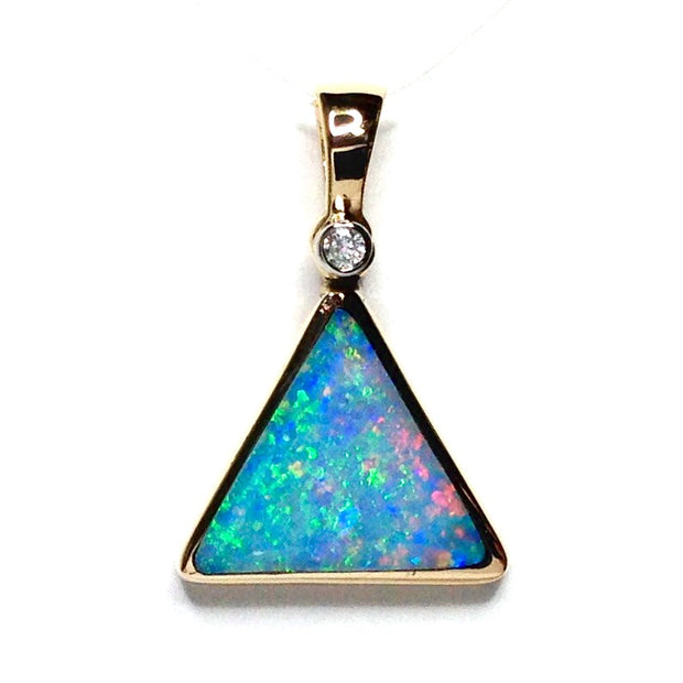 Natural Australian Opal Pendant Triangle Inlaid Design .02ct Round Diamond 14k Yellow Gold