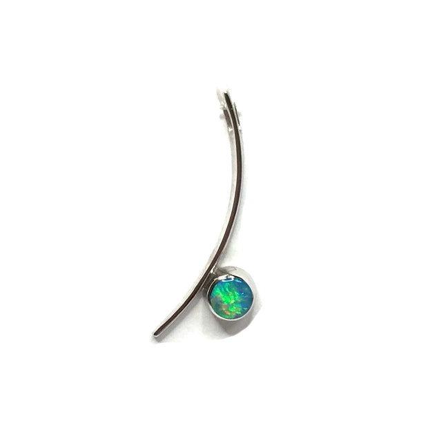 SUPERIOR QUALITY OPAL ROUND INLAY CURVED BAR PENDANT