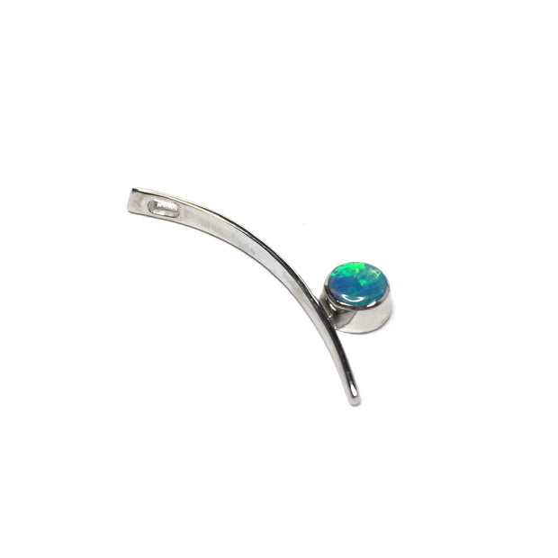Opal Pendant Round Inlaid Curved Bar Design 14k White Gold