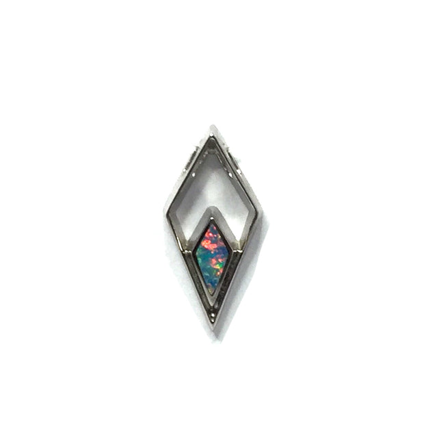 Opal Pendant Triangle Inlaid Design 14k White Gold