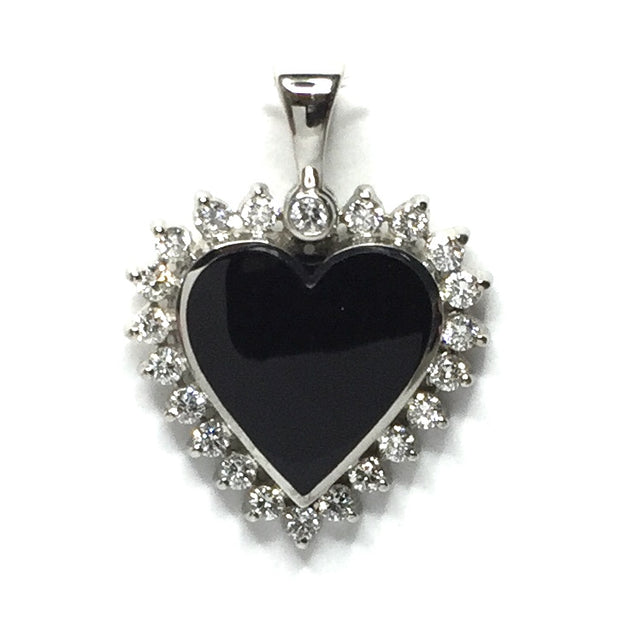 ONYX HEART SHAPE INLAID .55ctw DIAMOND PENDANT