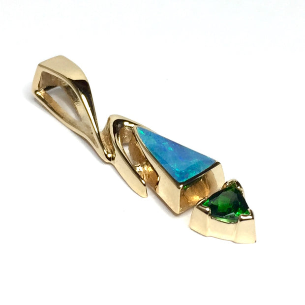 Natural Australian Opal Pendant Triangle Inlaid Design with Trillion Cut Green Tsavorite 14k Yellow Gold