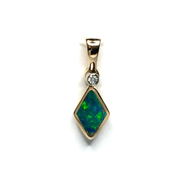Opal Pendant Diamond Shape Inlaid .02ct Round Diamond 14k Yellow Gold
