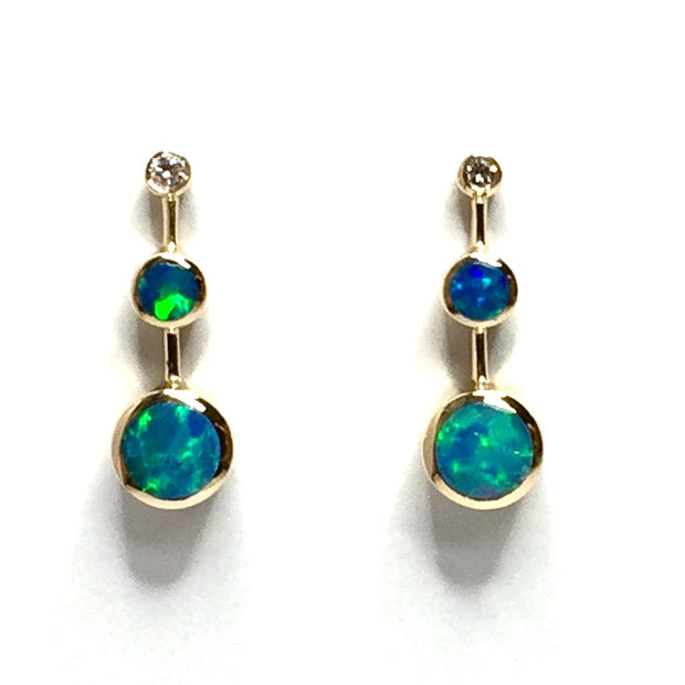 Opal Earrings Round Inlaid Tanzanite .04ctw Round Diamonds 14k Yellow Gold