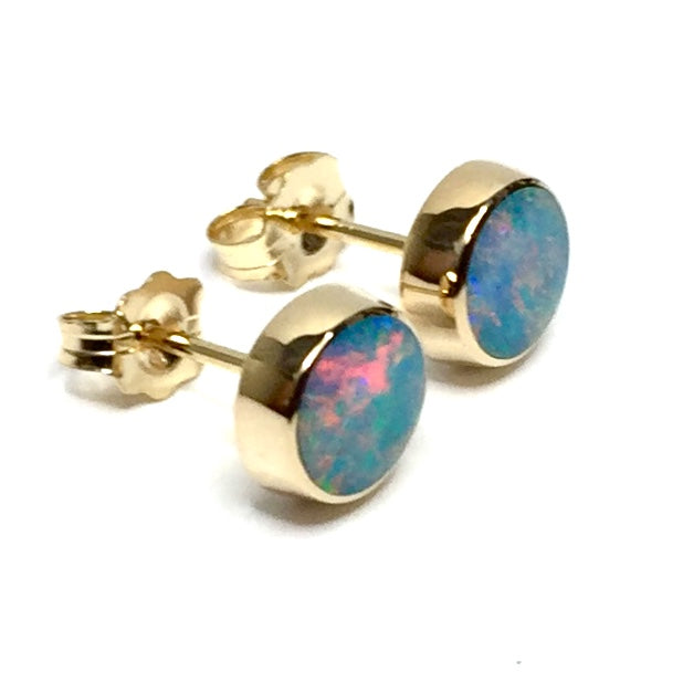Opal Earrings 6mm Round Inlaid Design Studs 14k Yellow Gold