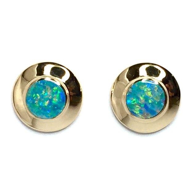 Opal Earrings Round Inlaid Design Studs 14k Yellow gold