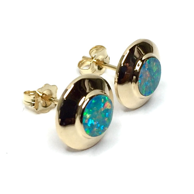 SUPERIOR QUALITY OPAL ROUND INLAID STUD EARRINGS