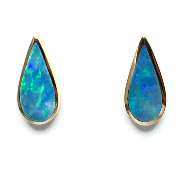 Opal Earrings Tear Drop Inlaid Design Studs 14k Yellow Gold