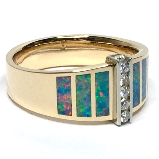 Natural Australian Opal Rings 6 Section Inlaid .19ctw Round Diamonds 14k Yellow Gold