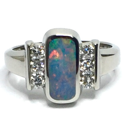 Natural Australian Opal Rings Oval Inlaid Design .24ctw Round Diamonds 14k White Gold
