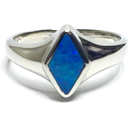 Opal Rings Diamond Shape Inlaid Design 14k White Gold