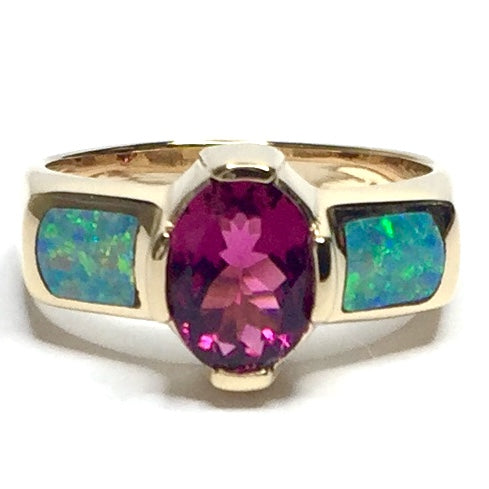 Natural Australian Opal Rings 2 Section Inlaid Oval Pink Tourmaline 14k Yellow Gold