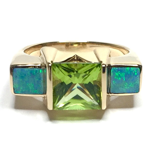 14k Yellow Gold Natural Australian Opal 2 Section Inlaid Opal Rings with Princess Cut Peridot