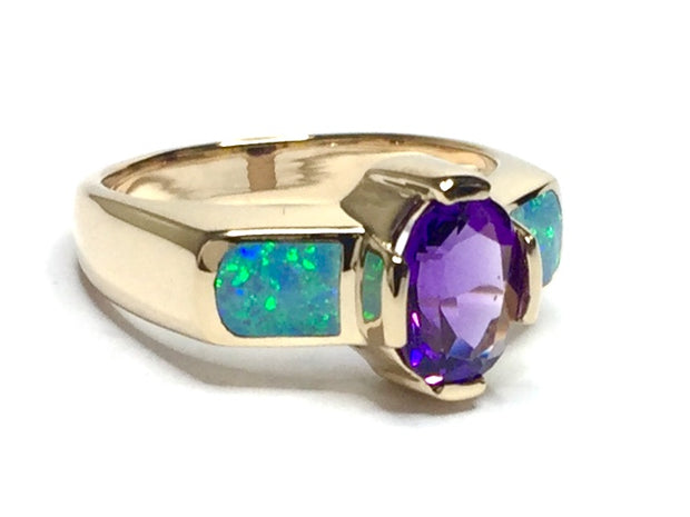 SUPERIOR QUALITY OPAL 2 SECTION INLAID OVAL AMETHYST RING