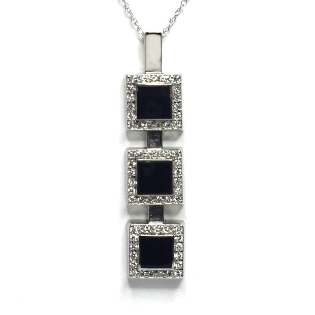 ONYX SQUARE 3 SECTION INLAID .42ctw DIAMOND PENDANT