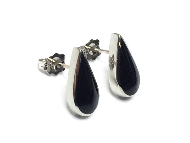 ONYX TEAR DROP INLAID EARRINGS