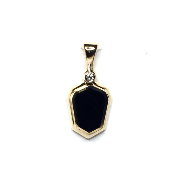 ONYX SHEILD DESIGN INLAID .02ct DIAMOND PENDANT