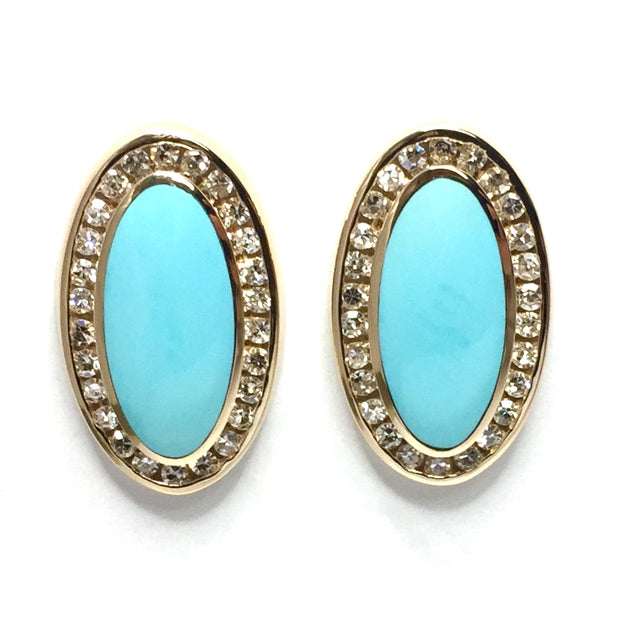 SLEEPING BEAUTY TURQUOISE OVAL INLAID EARRINGS