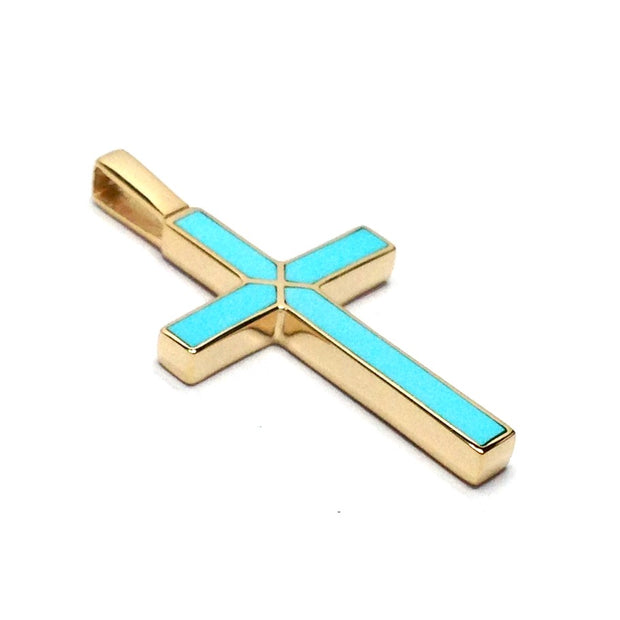 SLEEPING BEAUTY TURQUOISE INLAID CROSS PENDANT