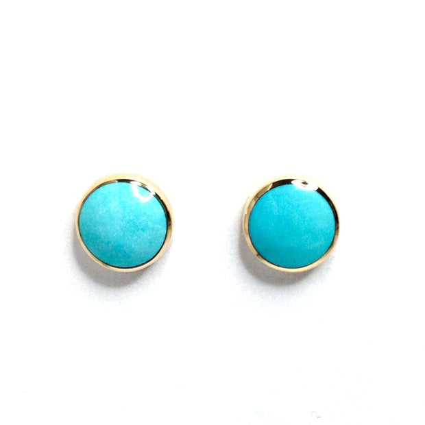 SLEEPING BEAUTY TURQUOISE INLAID ROUND EARRINGS