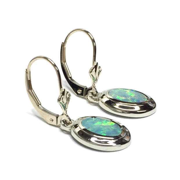Opal Earrings oval Inlaid Design Lever Backs 14k White Gold