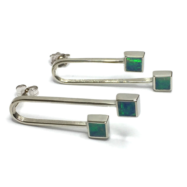 SUPERIOR QUALITY OPAL SQUARE 2 SECTION INLAID CURVED U DESIGN EARRINGS