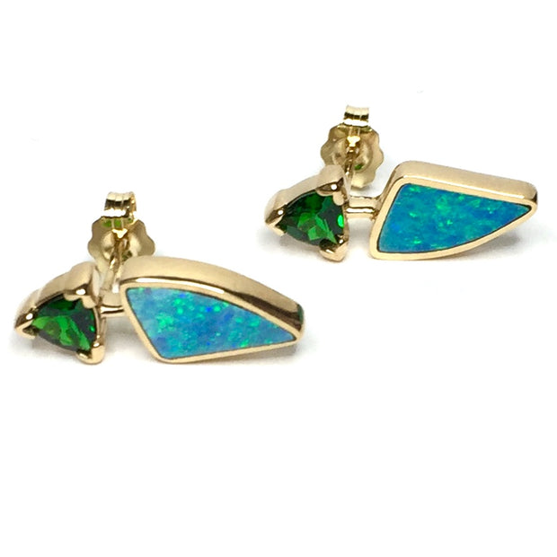 FINE QUALITY OPAL TRIANGLE INLAID AND TRILLION CUT TSAVORITE EARRINGS