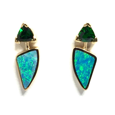 Opal Earrings Triangle Inlaid Trillion Cut Tsavorite Studs 14k Yellow Gold
