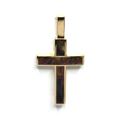 Natural pietersite 2 section inlaid cross pendant