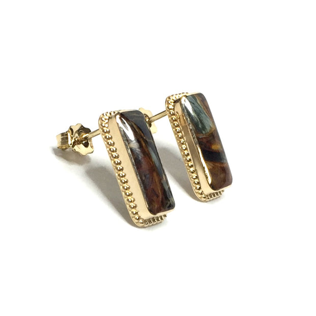 NATURAL PIETERSITE INLAID RECTANGLE EARRINGS