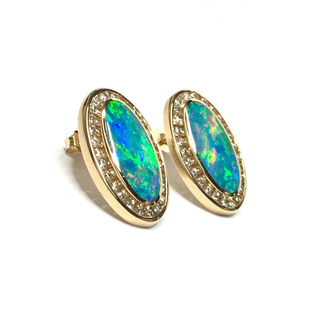 .73ctw Round Diamonds Halo Oval Natural Opal Inlay Earrings made of 14k Yellow Gold