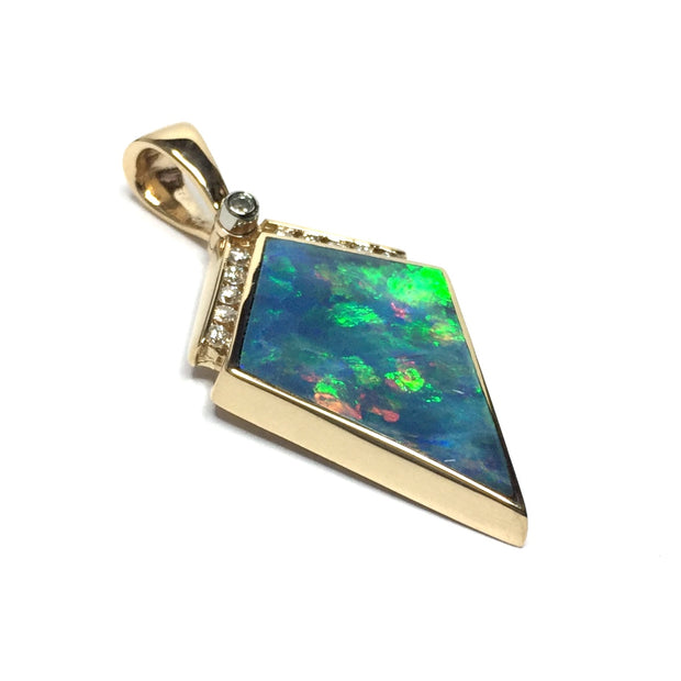 Opal Pendant Inlaid Kite Design .19ctw Round Diamonds 14k Yellow Gold