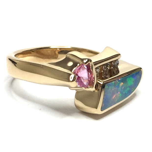 Natural Australian Opal Rings Geometric Inlaid Pink Sapphire and .08ctw Round Diamonds 14k Yellow Gold