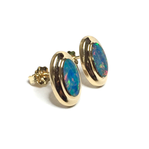 SUPERIOR QUALITY NATURAL OPAL OVAL INLAID EARRINGS