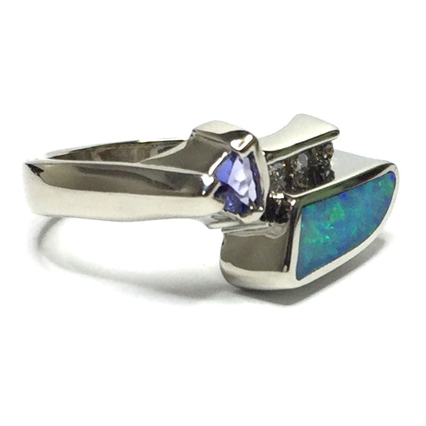 Natural Australian Opal Rings Geometric Inlaid Design Trillion Cut Tanzanite .08ctw Diamonds 14k White Gold