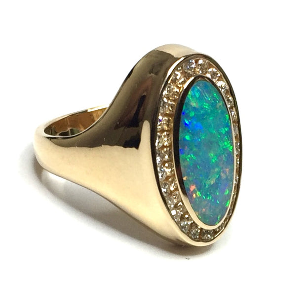 Opal Rings Oval Inlaid Design .36ctw Round Diamonds Halo 14k Yellow gold
