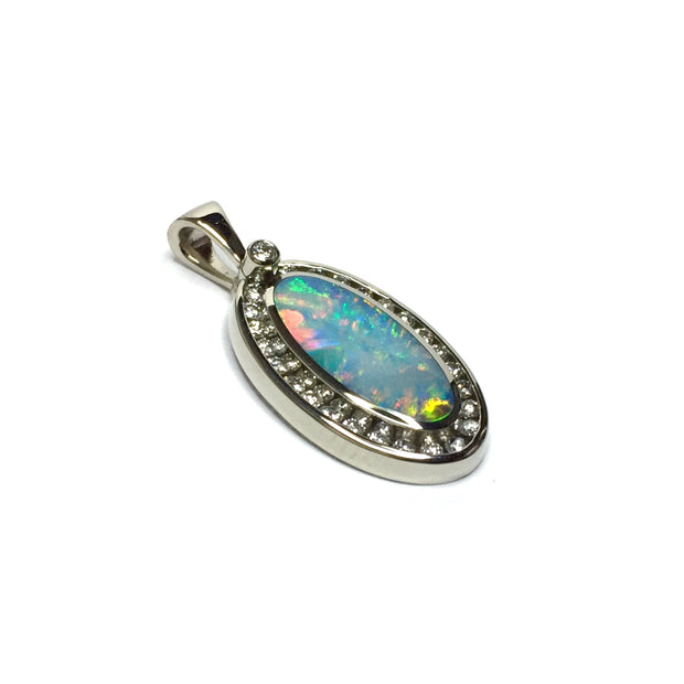 Natural Australian Opal Pendant Oval Inlaid Design .37ctw Round Diamonds Halo 14k White Gold