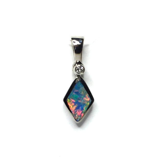 SUPERIOR QUALITY OPAL DIAMOND SHAPE INLAID AND .02ct DIAMOND PENDANT